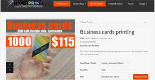 Business cards printing at Techprint
