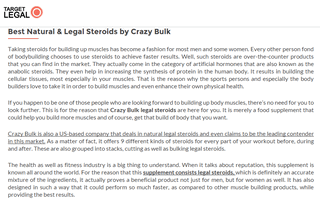 Review Legal Supplements by Crazy Bulk