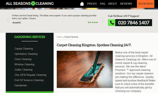 Professional carpet cleaning in Kingston