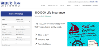 Whole Vs Term Life Insurance - Home of the One Million Dollar Life Policy
